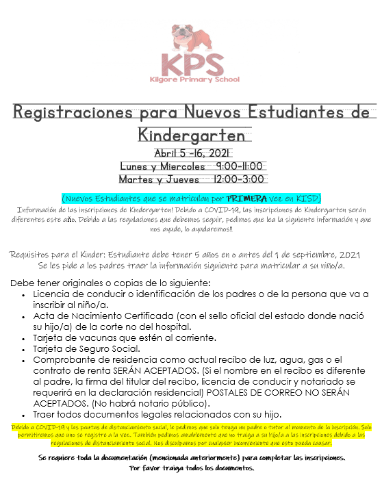 Registraciones para Nuevos Estudiantes de Kindergarten Featured Photo