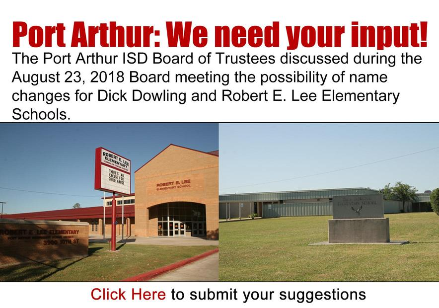 Click here to suggest names to replace Robert E. Lee and Dick Dowling Elementary