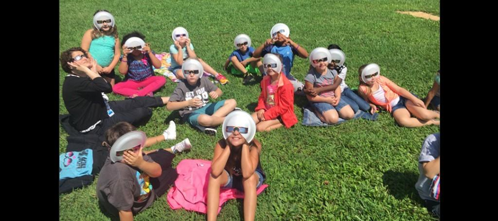 Elementary Students Viewing the Solar Eclipse