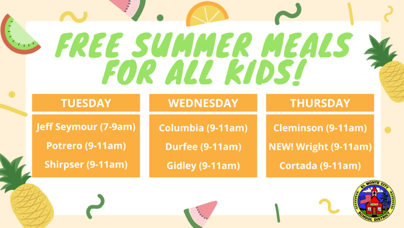 Free Meals for All Kids are available for pick up weekly Tuesdays (Jeff Seymour 7-9am, Potrero 9-11am, Shirpser 9-11am), Wednesdays (Columbia 9-11am, Durfee 9-11am, Gidley 9-11am), Thursdays (Cleminson 9-11am, Wright 9-11am, Cortada 9-11am)