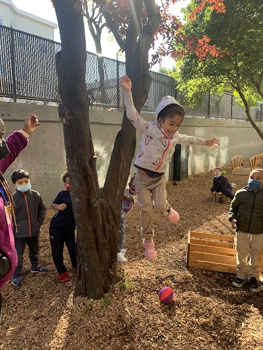 PreK students playing outside