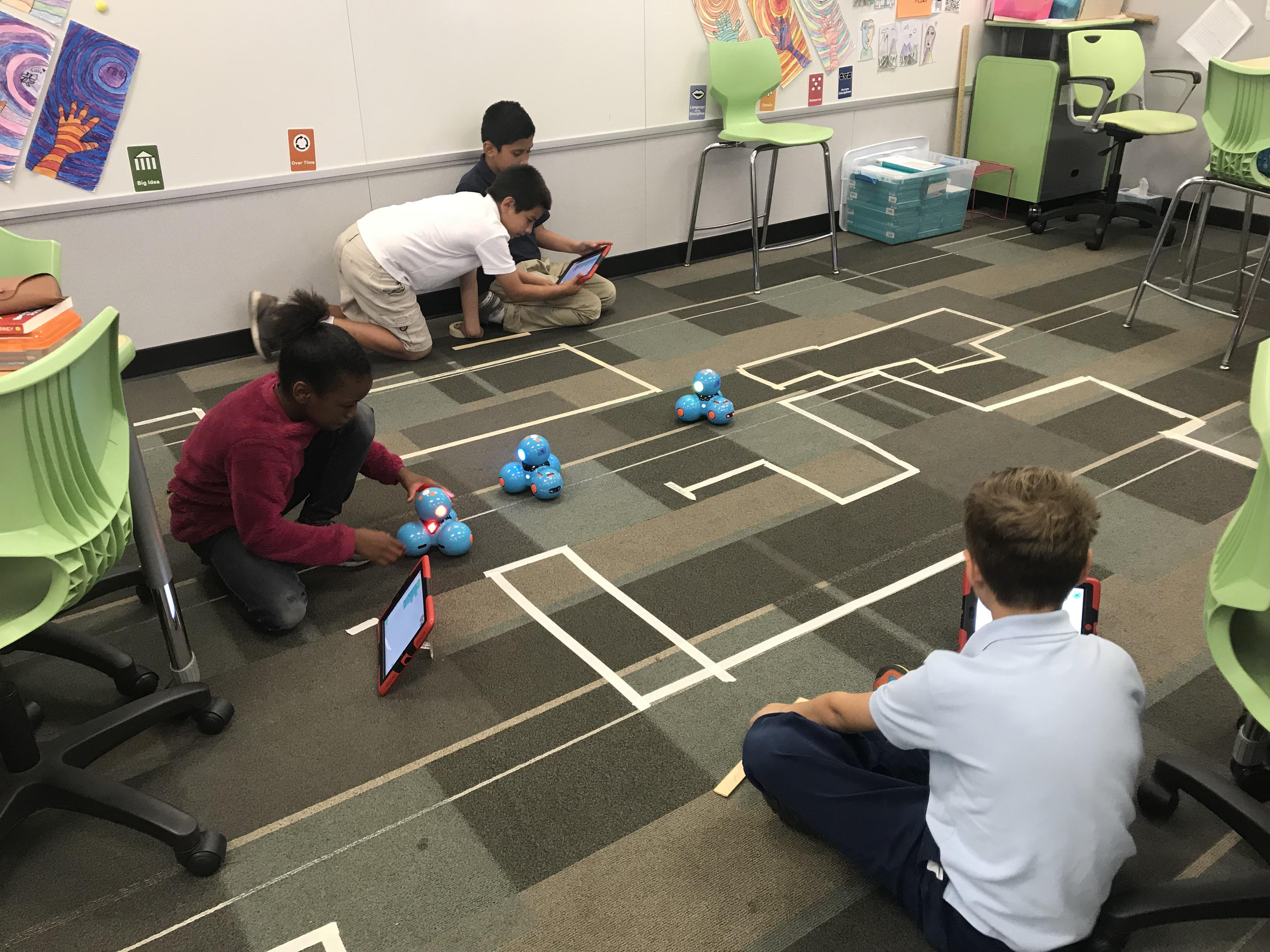 Students coding robots