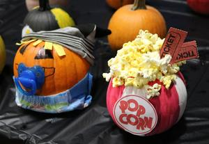 Two creative examples of pumpkin decorating/carving for Wilson  School's pumpkin patch.