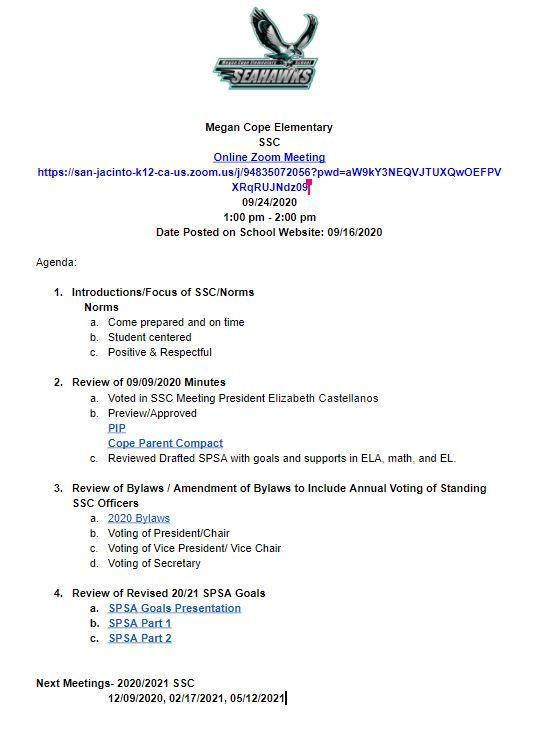 09/24/2020 Meeting Agenda