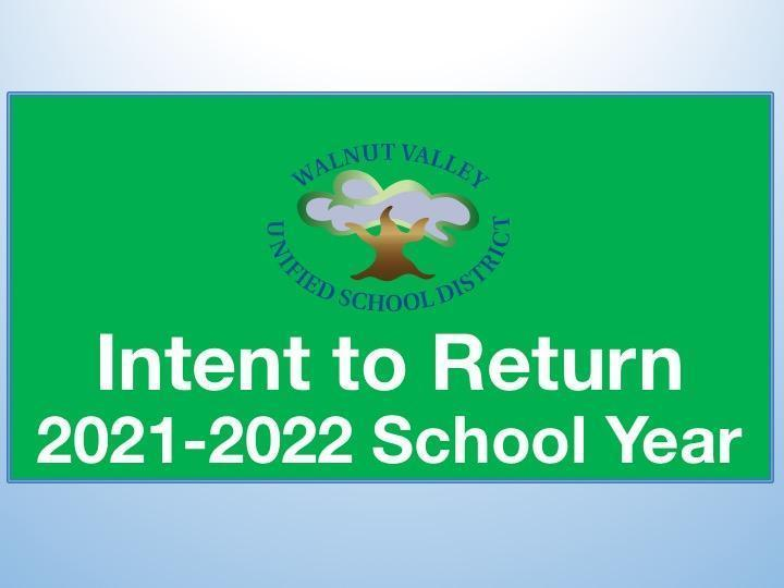 Intent to Return for 2021/2022 School Year Featured Photo