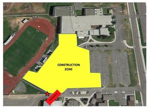 A Google map showing that people need to enter Earl Barden Stadium from the left of the construction zone.