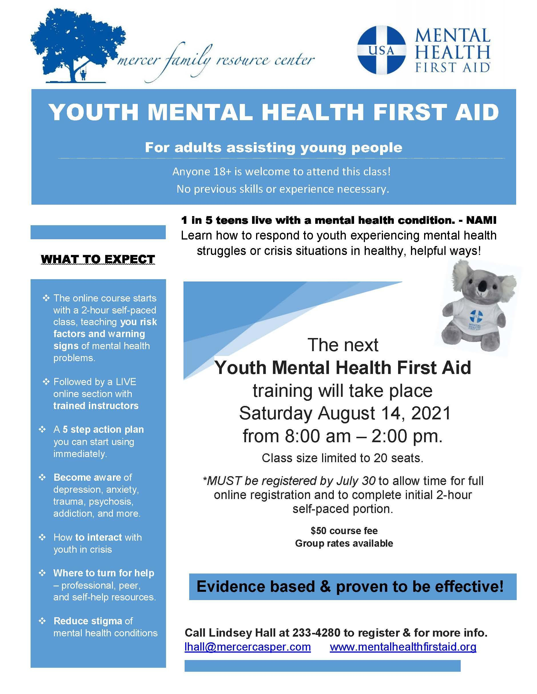 Youth Mental Health First Aid Training Flyer
