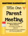 Title One Parent Meeting Flyer