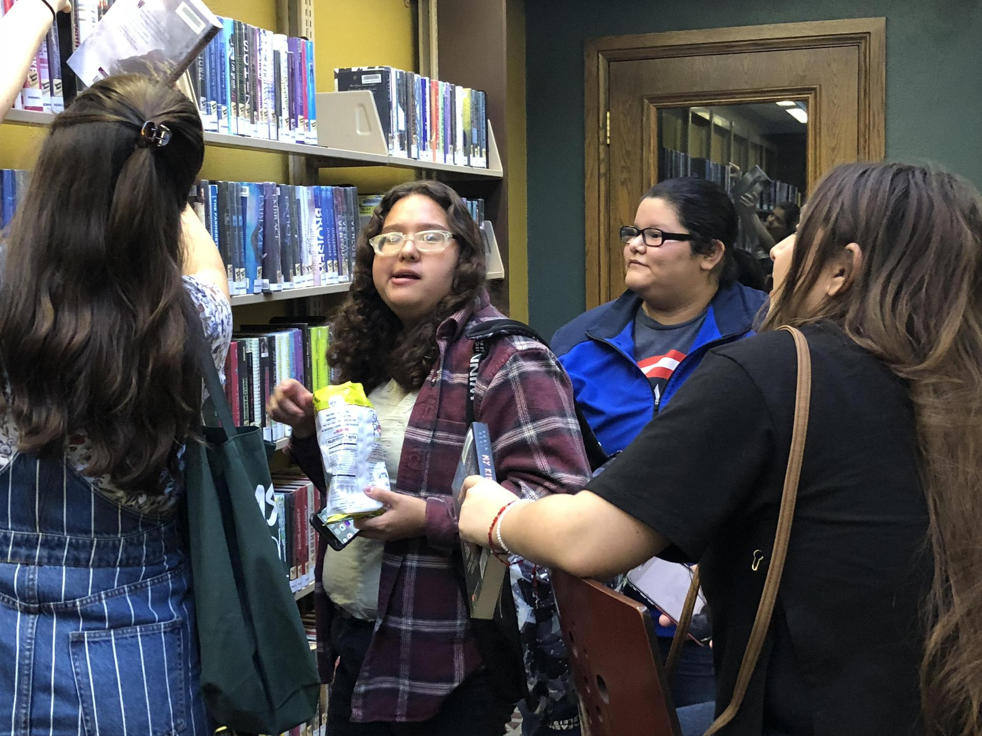 Checking out books in Teen Central