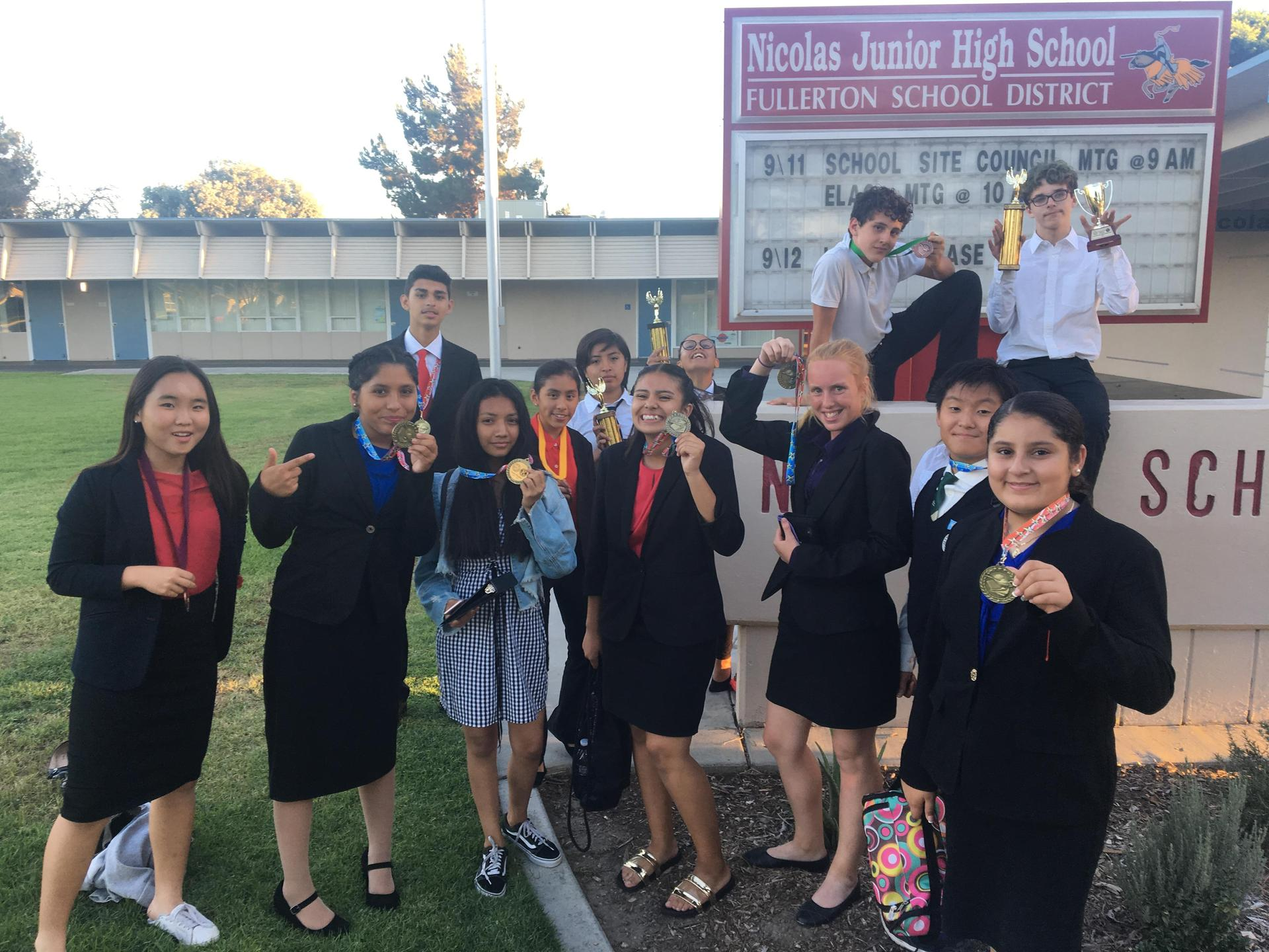 Students posing