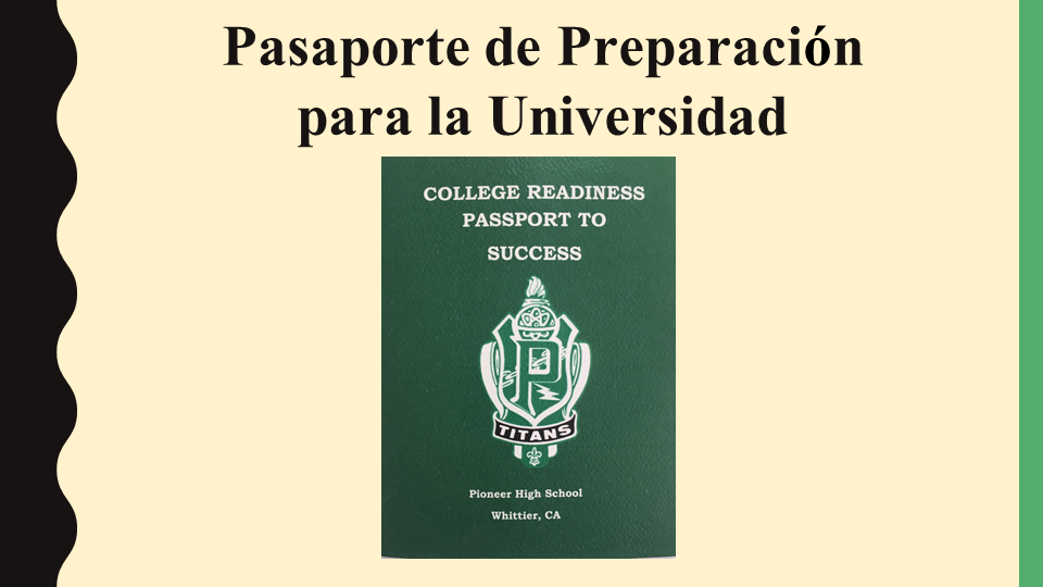 College Readiness Passport image slide (Spanish)