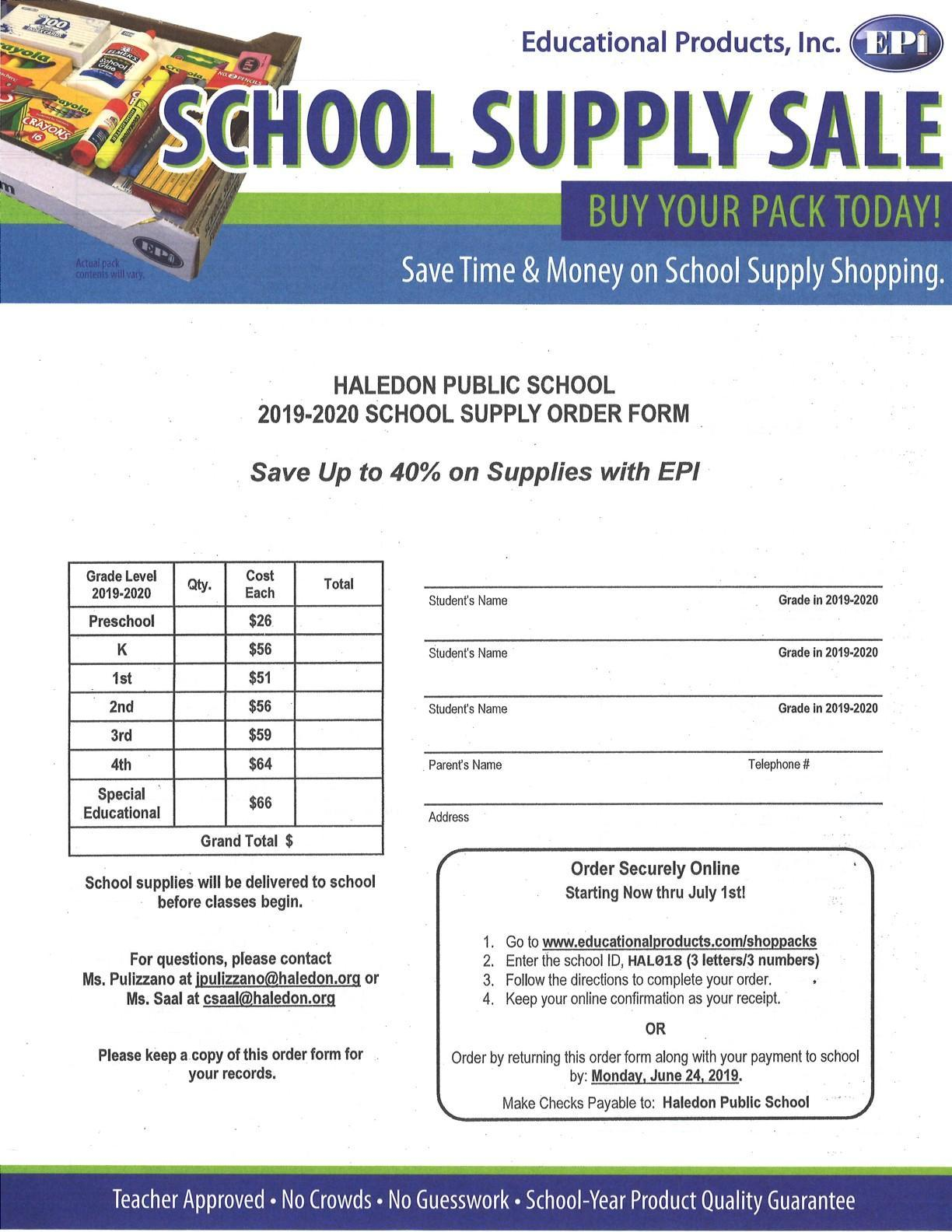 School Supply order forms