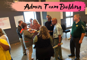Principals take part in team building activity.