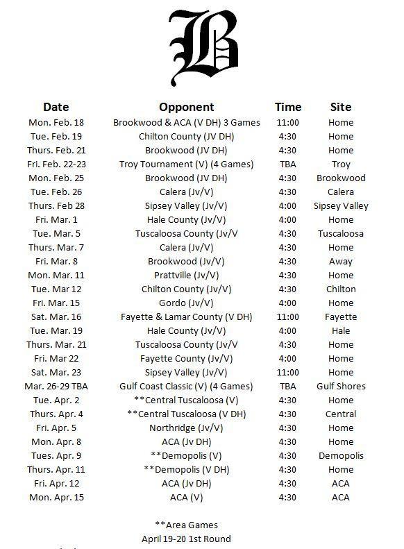 Baseball Schedule Pic