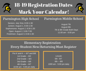 Registration Dates and Times
