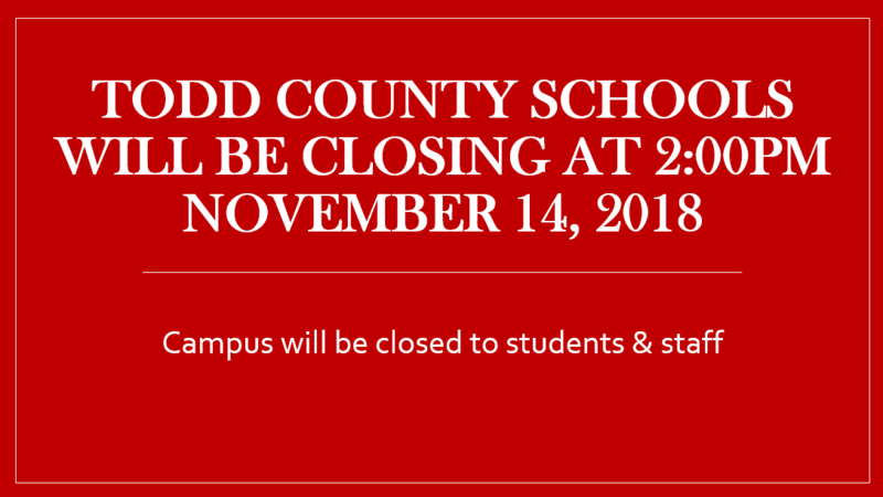 Todd County Schools will close at 2:00pm on November 14, 2108 Featured Photo