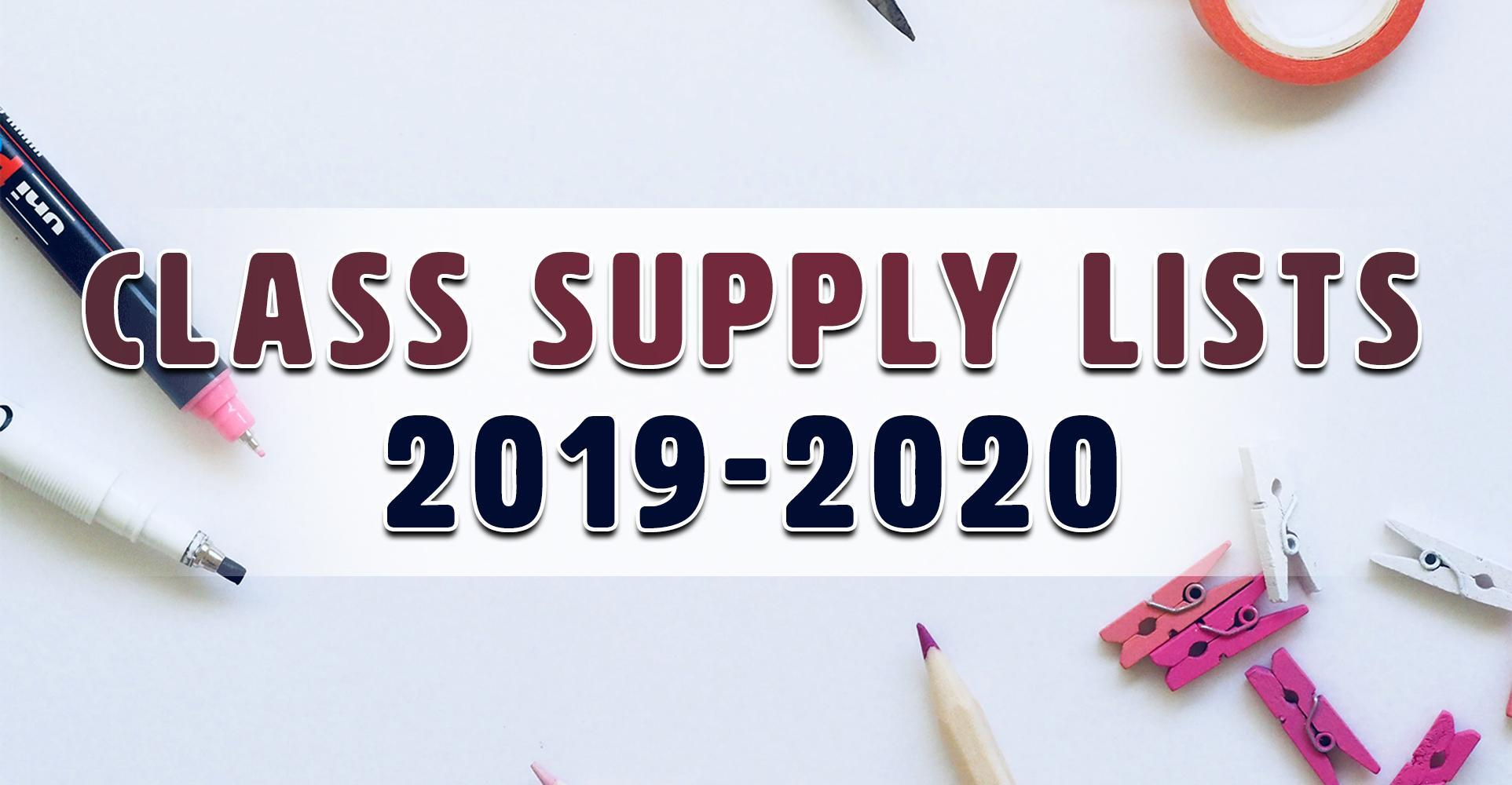 Class Supply Lists (2019-2020)