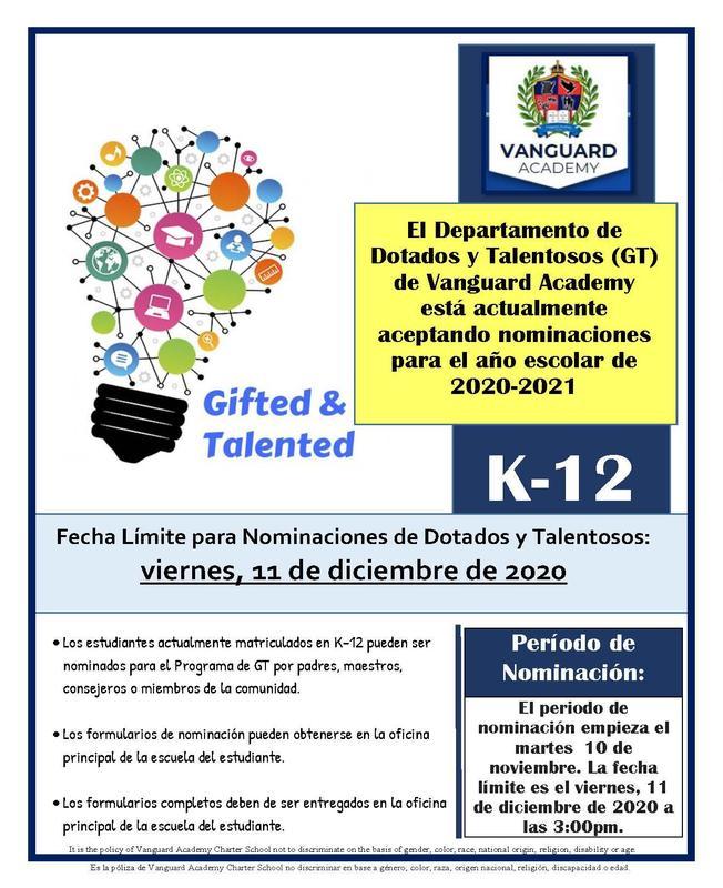 El Departamento de Dotados y Talentosos (GT) de Vanguard Academy Featured Photo