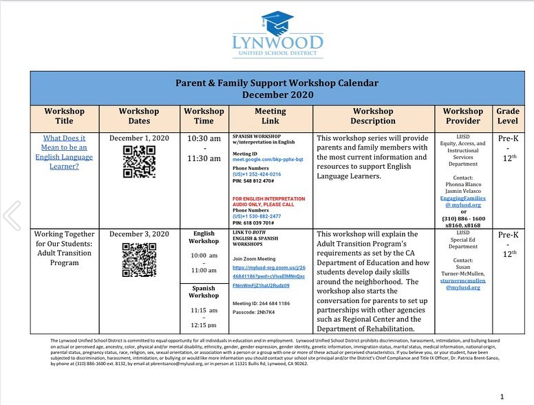 Parent and Family Support Workshop Calendar Featured Photo