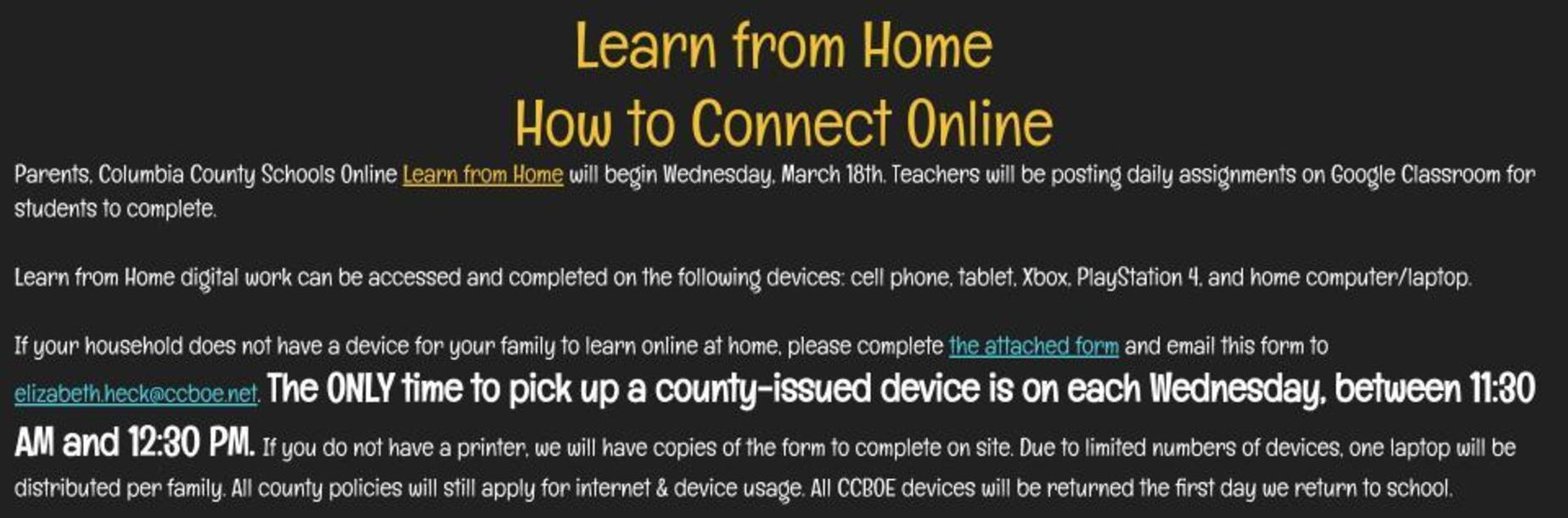 Learn from Home internet columbia county schools