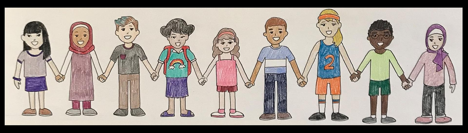Cartoon drawing of students of different ethnicities holding hands