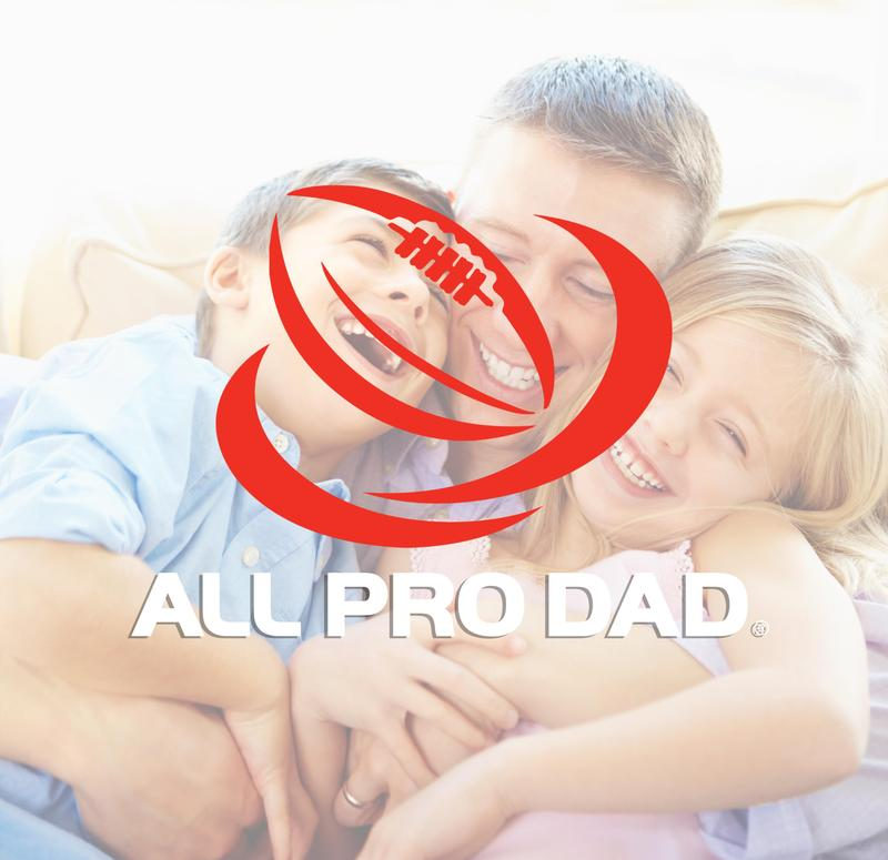 A pic of a dad and his two kids with the All Pro Dad Logo