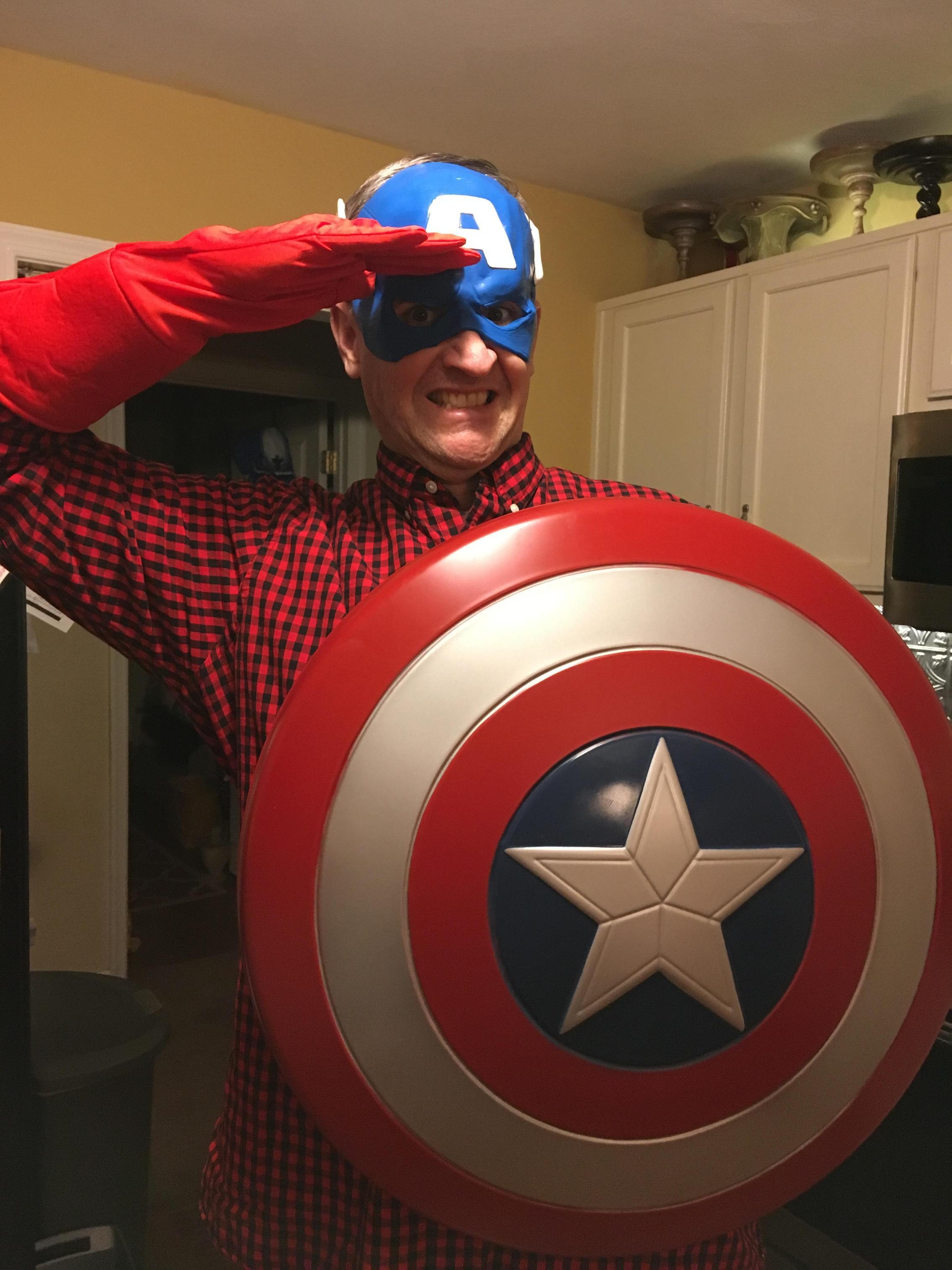 mr. brennan dressed as captain america