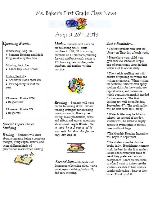 Newsletter – Ms  Jennifer Baker – Midland Elementary School