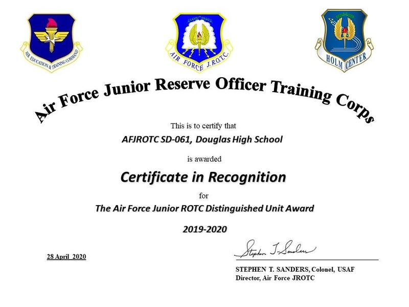 Air Force JROTC 2019-2020 Distinguished Unit Award Featured Photo