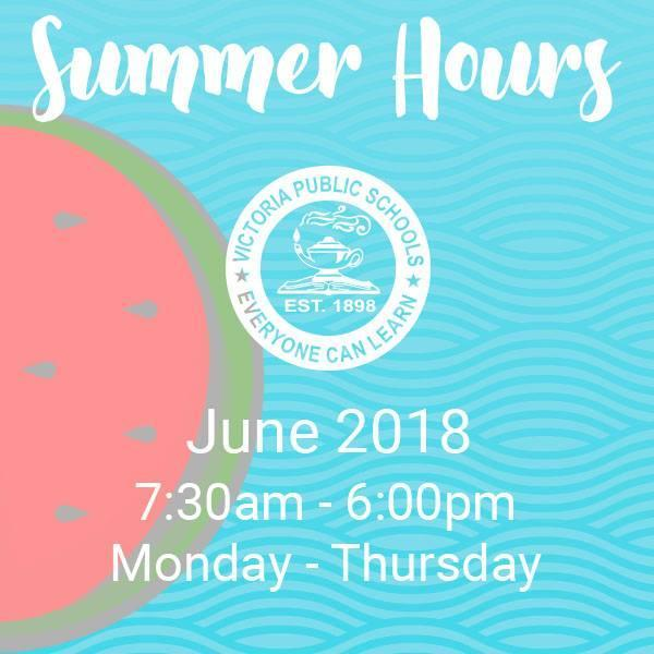 Modified Summer Hours for June 2018 Thumbnail Image