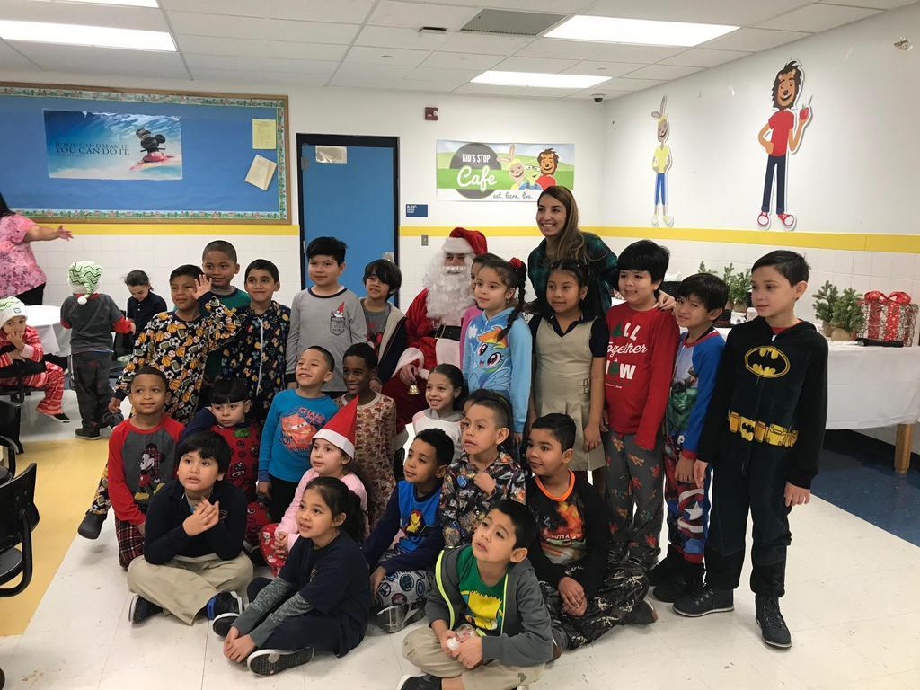 3rd grade class with santa