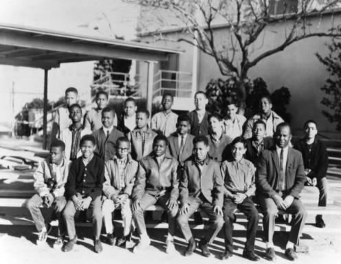 According to the public library records, this photograph was taken in 1965. Teacher: Ivan Baldwin. This picture was taken in front of the auditorium near the now lunch area.