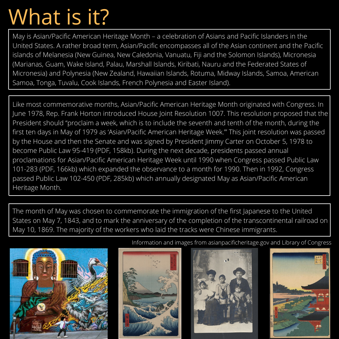 Graphic that explains Asian Pacific Heritage Month - description is also listed below.