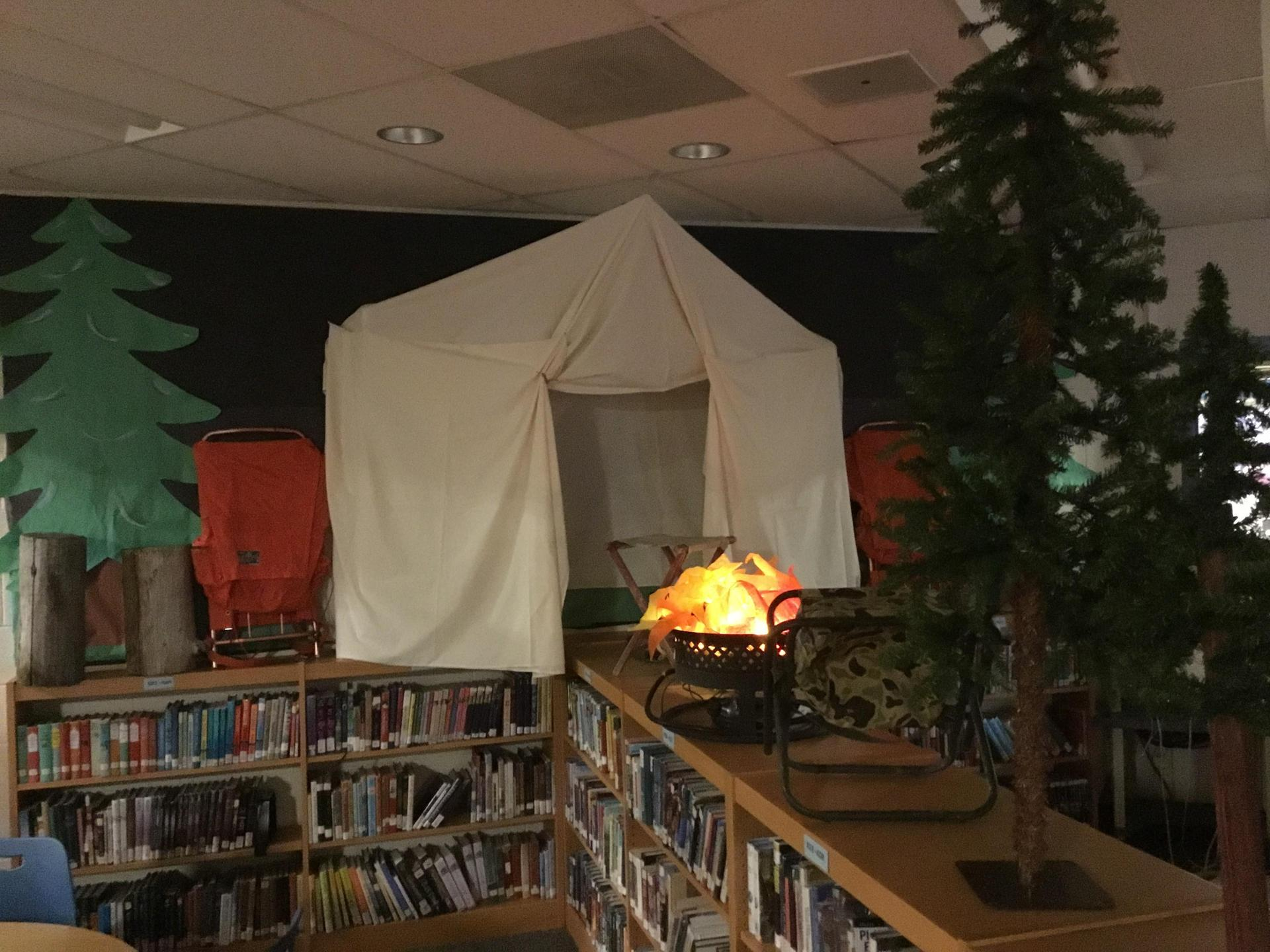 campfire and tent display