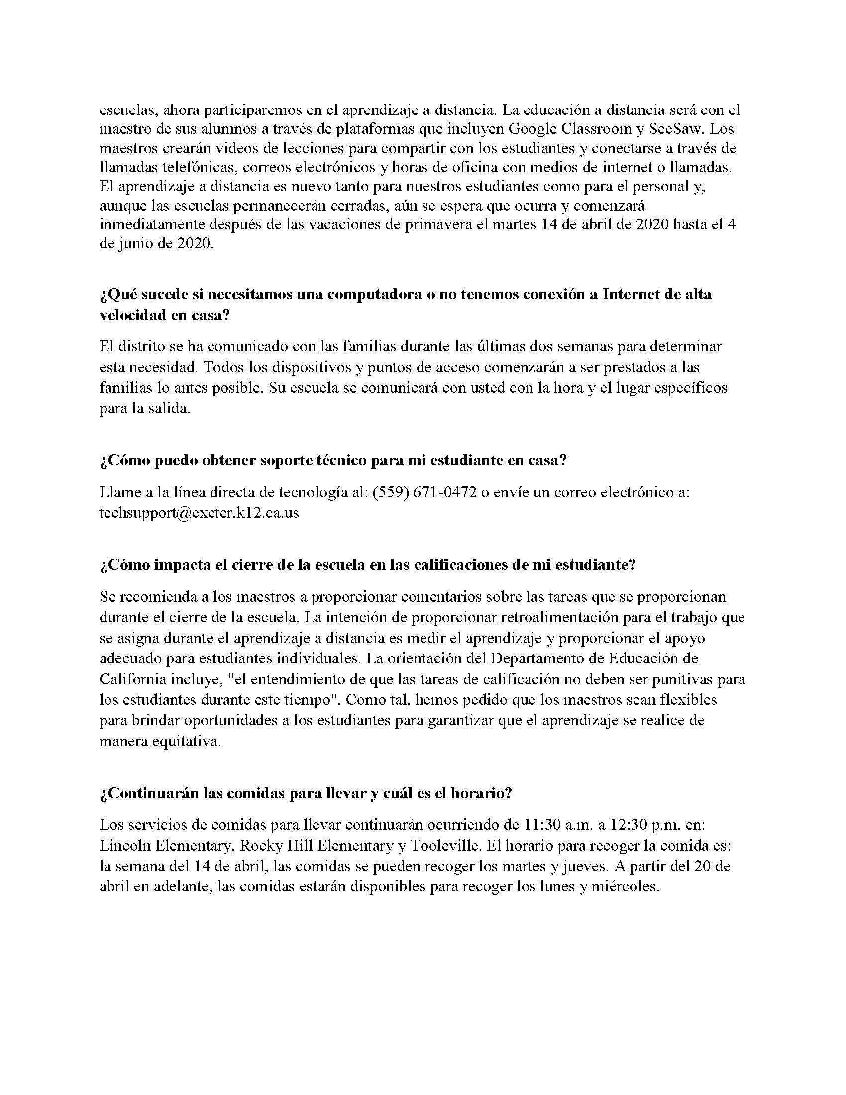 EUSD Superintendent's Community Letter- Spanish page 2