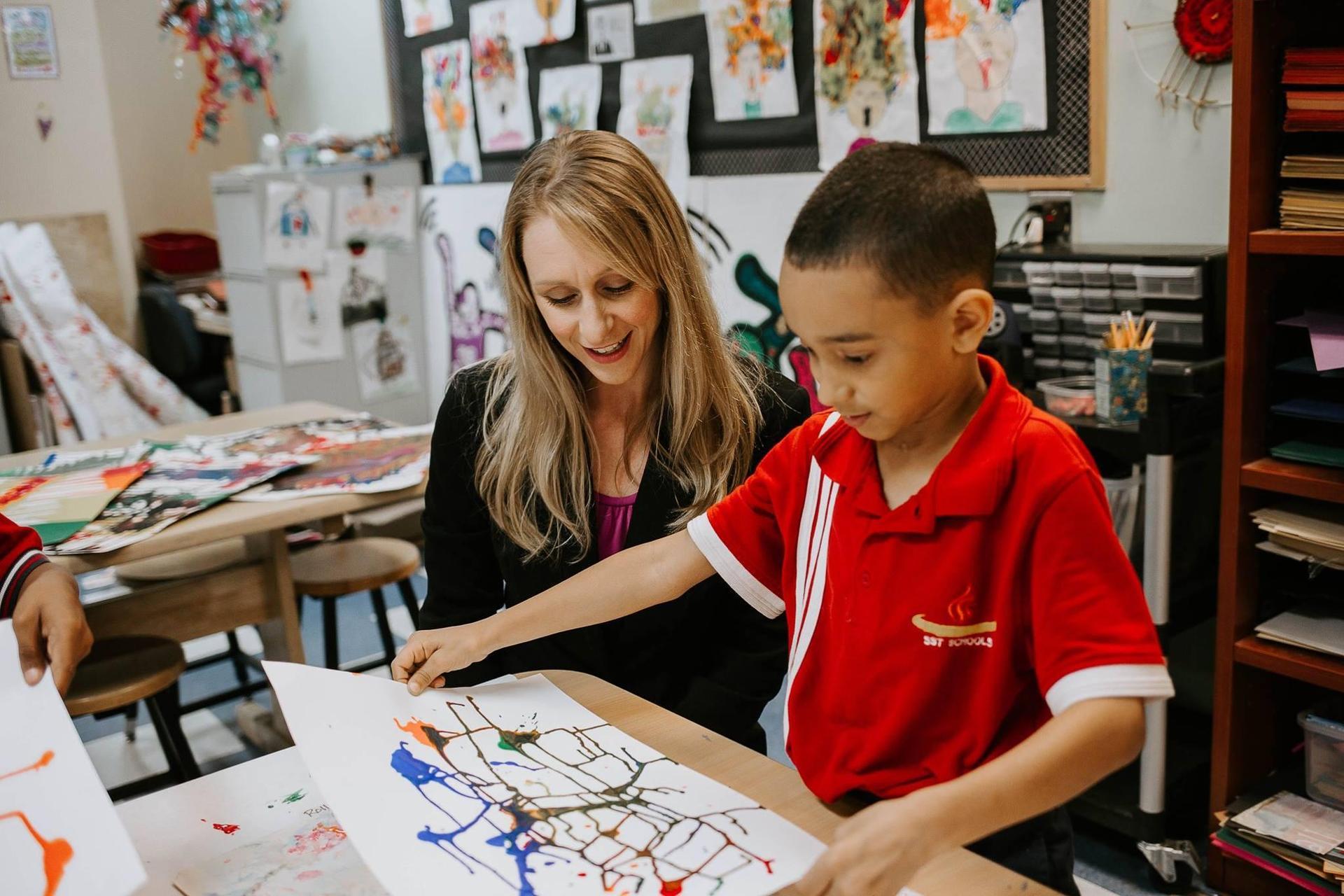 SST Alamo Principal with student