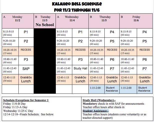 November 11/2-11/6 Bell Schedule