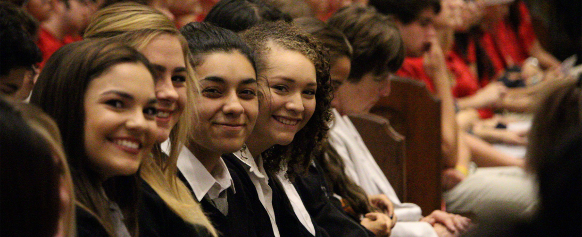 Students during Mass