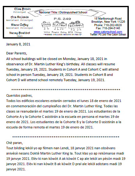Schools Closed - Jan 18, 2021 Thumbnail Image