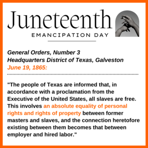 Graphic with information about Juneteenth in English.  All wording in the graphic is also in the body of the post.