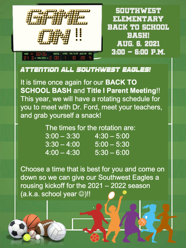 2021 Back to School Bash/Title I Parent Meeting August 6th! Thumbnail Image