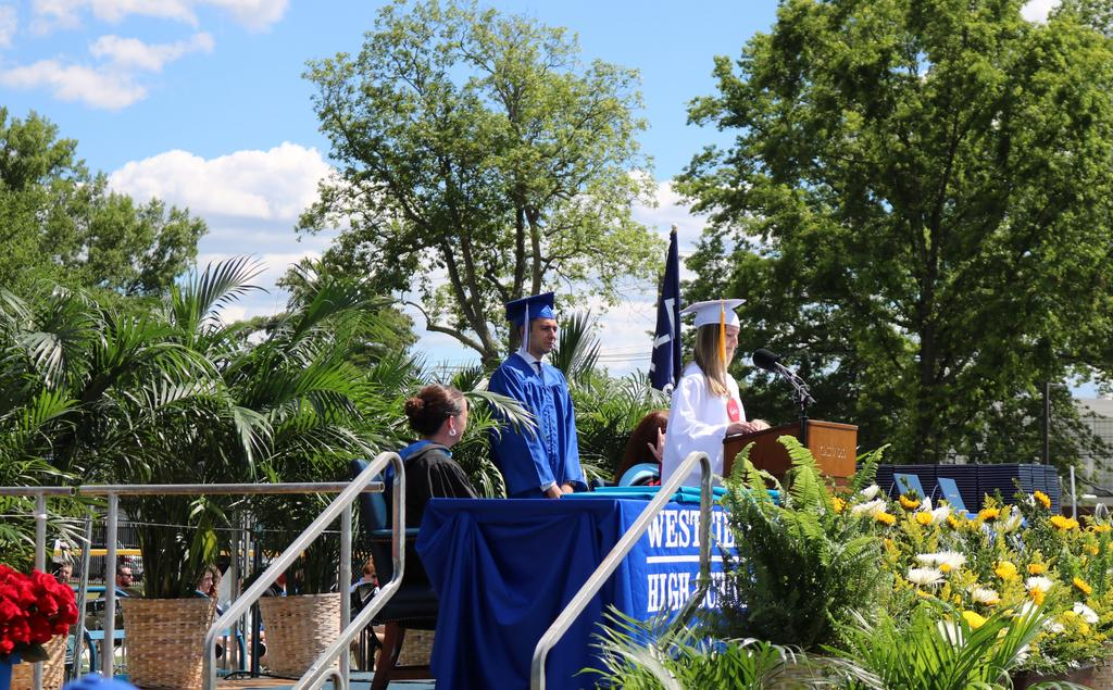 Senior Class President Lily Ceraso and Student Government President Jordan Horowitz reflected on the past four years and what the future may hold during commencement exercises on June 23 for the Westfield High School Class of 2021.