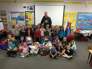 Mr. Bultema's kindergarten class collected several items as a class to donate to North Carolina prior to Joey's birthday.