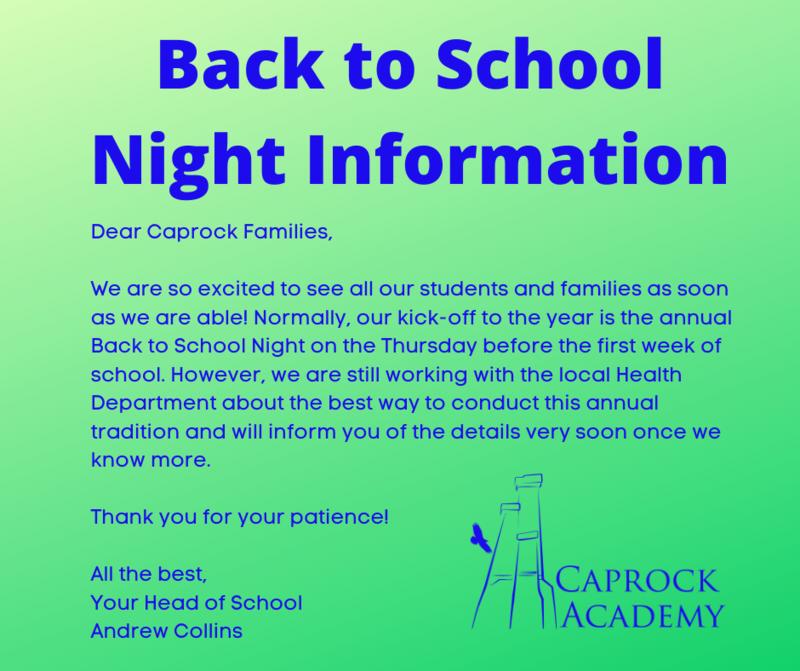 back to school night information