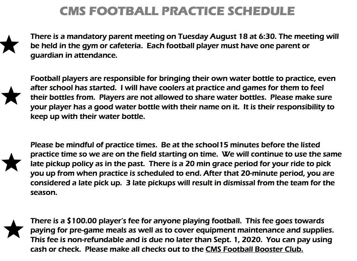 Football Conditioning Schedule Information