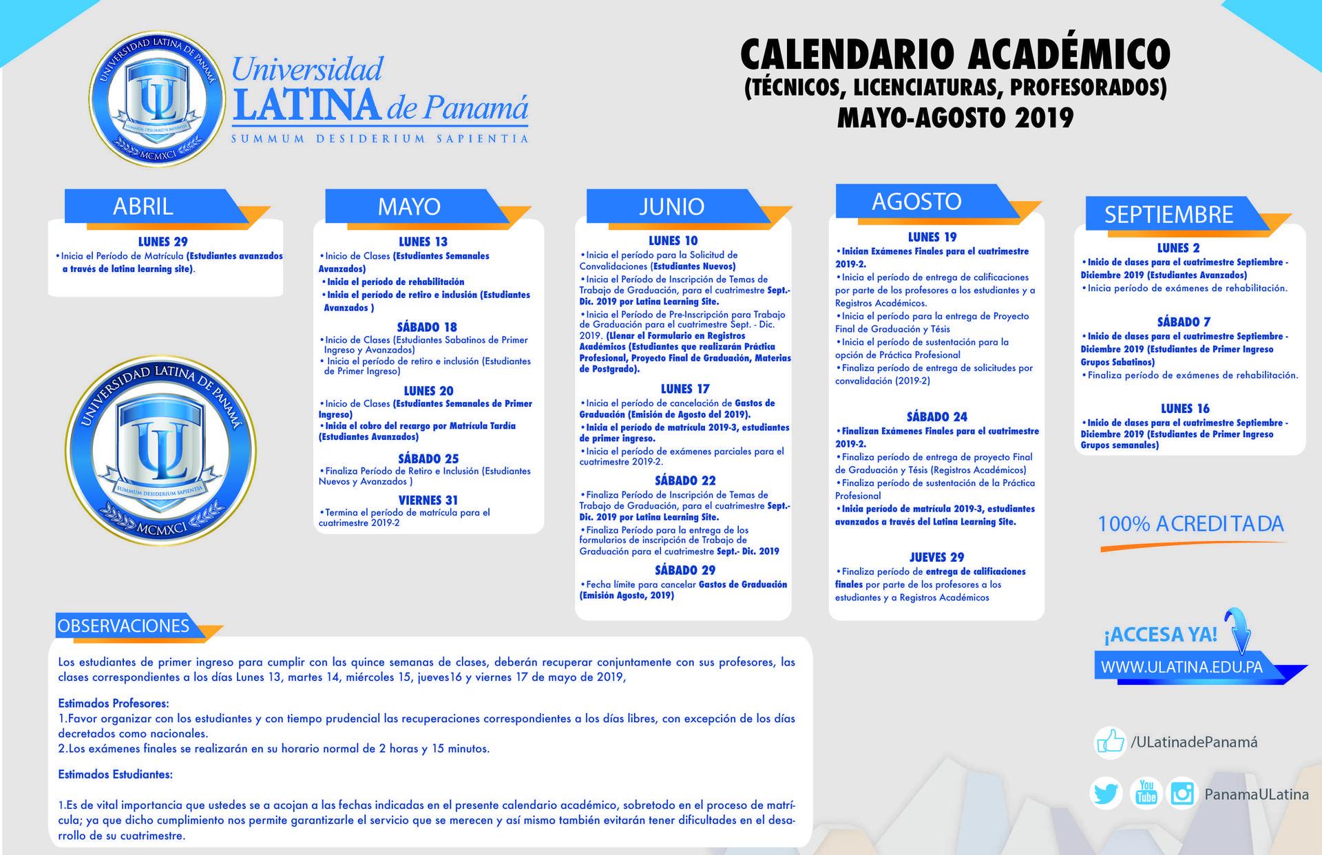 Calendario Universitario.Calendarios Academicos Vida De Campus Universidad Latina