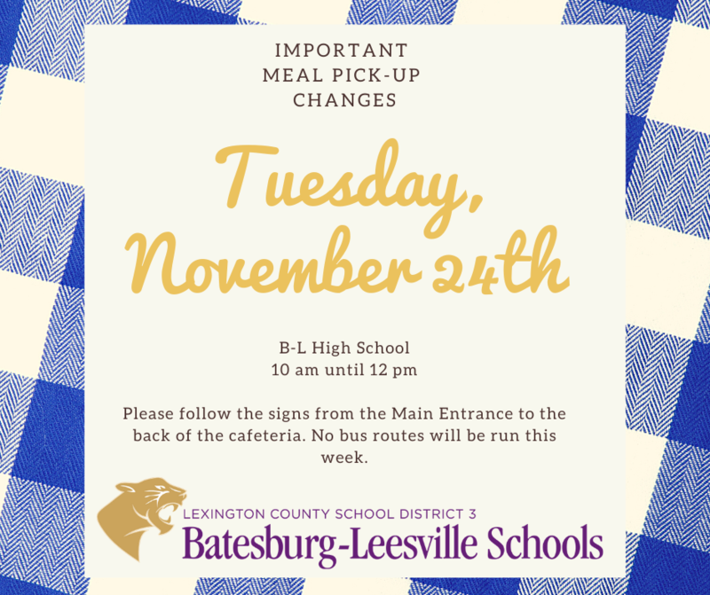 Meal Pick-Up Changes for November 23rd through 27th