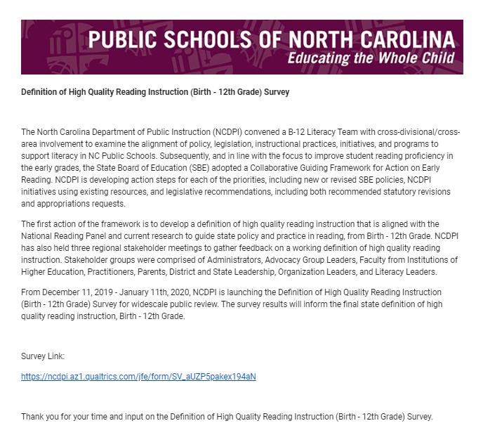 Public Schools of North Carolina Survey Featured Photo