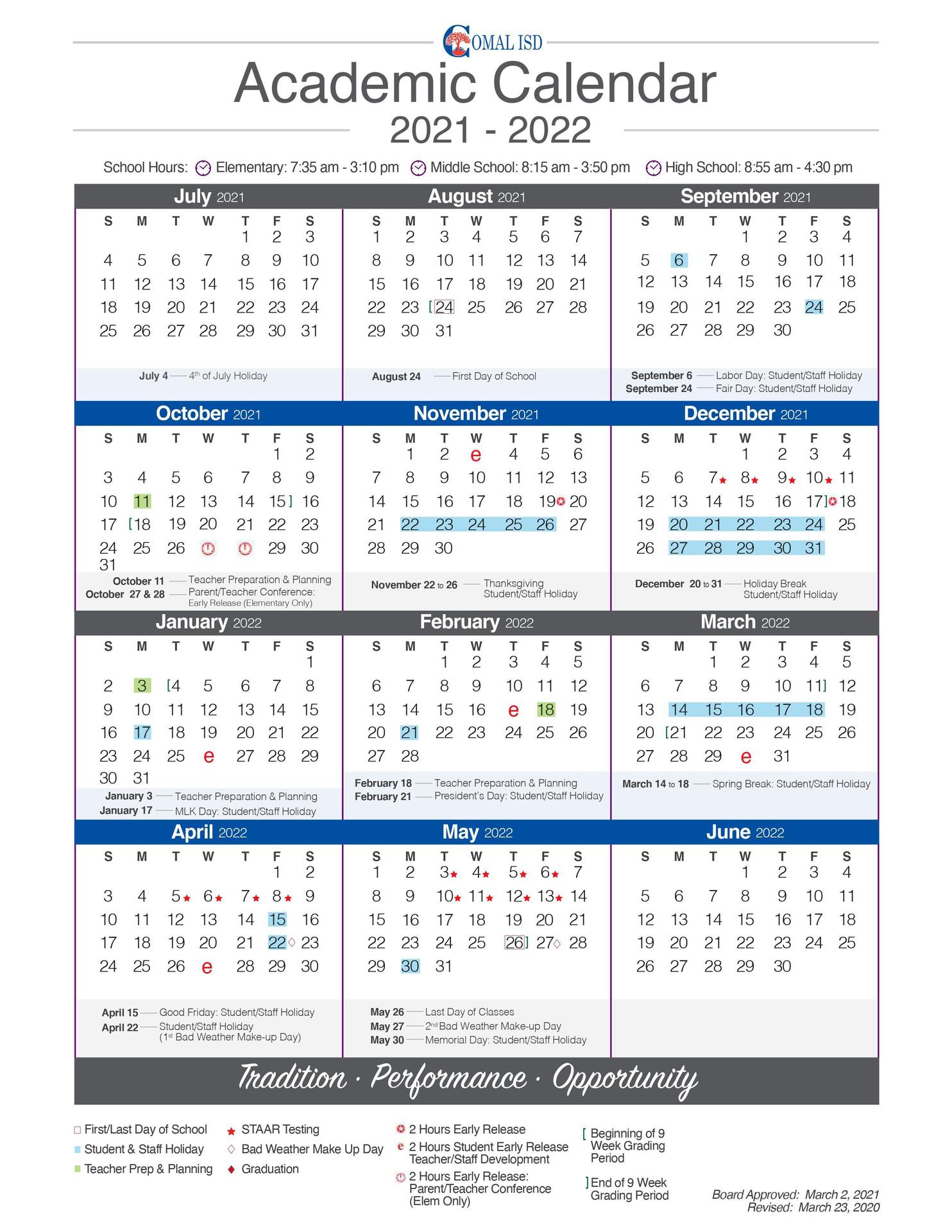 Academic Calendar 21-22
