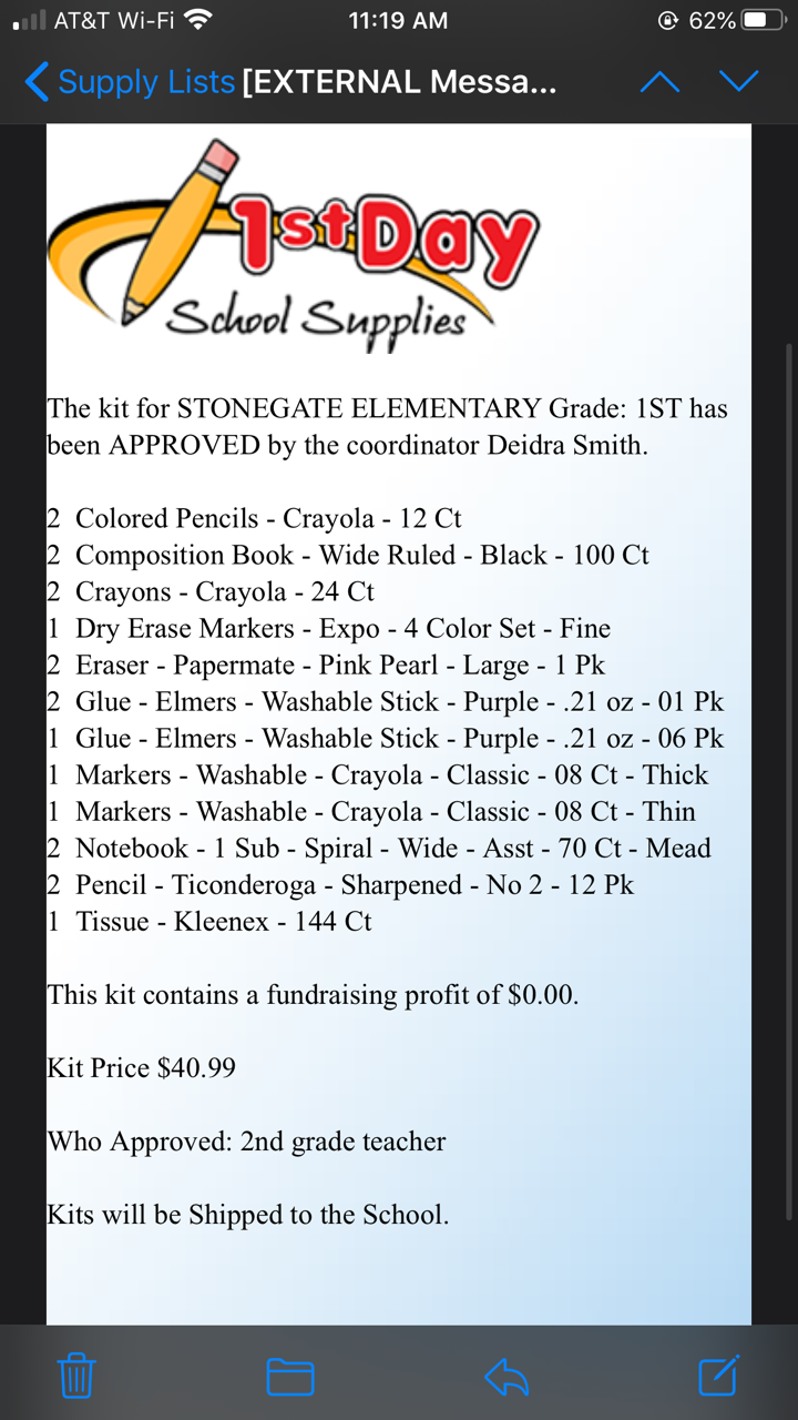 1st Grade Supply List 20-21